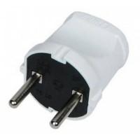 Makel вилка  6А 250В (АБС-пластик, прямая, белая) 10001 (1/50/500)