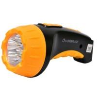 Ultraflash фонарь ручной LED3804 (акк. 4V 0.5Ah) 4св/д (15lm), черный+желтый/пластик, вилка 220V