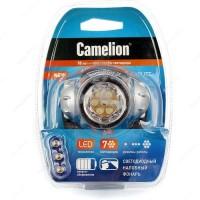 Camelion фонарь налобный LED5310-7F3 (3xR03 в компл.) 7св/д 0.6W (19lm), метал./пластик, 3 реж, BL