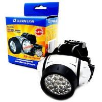 Ultraflash фонарь налобный LED5353 (3xR03) 19св/д (42lm), серебр./пластик,поворот.отражат,4 режима (1/5/100)