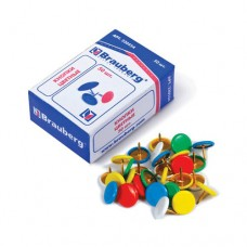 "Кнопки канцеляр. BRAUBERG ""цветные"" 10мм*50шт. металл, карт. коробка, 220554"