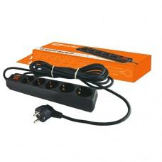 TDM сетевой фильтр ПВС 3х1 5 роз. 1.5 м 16А земля, выкл. черный СФ-05В SQ1304-0001