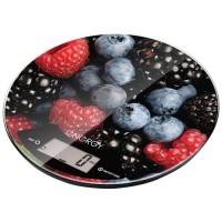 Весы кухон. эл. ENERGY EN-403 (ягоды/черные) до 5кг, дел 1гр, d=18.5см (CR2032 в компл) 11645