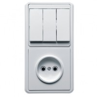 Кунцево-Электро БЭЛЛА блок (1роз+3кл. выкл.) СУ бел. АБС-пластик БКВР-039