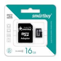MicroSDHC 16GB Class4 SmartBuy с адаптером