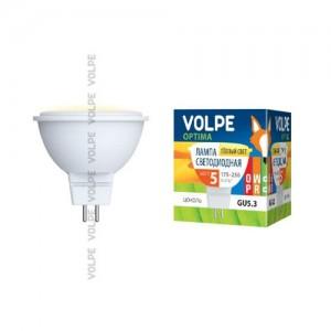 Лампа св/д Volpe MR16 GU5.3 220V 5W(350lm 110°) 3000K мат 50x54 пласт LED-JCDR-5W/WW/GU5.3/O картон