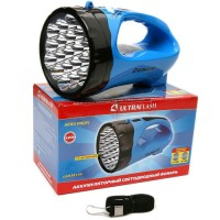 Ultraflash фонарь-прожектор LED3818SM (акк. 4V 1.3Ah) 1св/д 3W+12св/д, синий/пласт, 2 реж,вилка 220V (1/40)