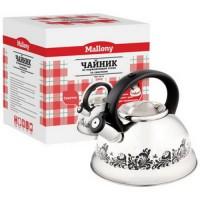 Чайник метал. со свистком (0,4мм) MAL-0417A, 3л, ручка нейлон, меняет цвет при нагрев., 2102 Mallony
