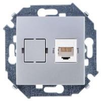 Simon 15 мех. роз. компьют. СУ 1 мест. алюм (серебро) (кат.5е, RJ45) 1591598-033