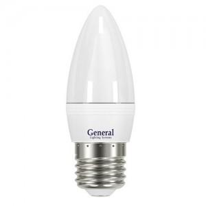 General Свеча C37 E27 8W(700lm) 4500K 4K 38x108 пластик/алюмин. GLDEN-CF-8-230-E27-4500, 638600 (1/10/50)