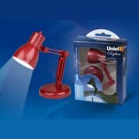 Uniel фонарь кемпинговый S-KL019-B (3xAG13 в комп) 1св/д (30lm), красный/пластик, h=10 см, струбцина