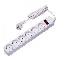 EKF сетевой фильтр ПВС 3х1 6 роз. 1.8м 16А выкл. земля. штор. предохр. ABS-пласт UFA16-310-6-018
