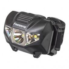 Focusray фонарь налобный 1053 (3xR03) 1W+2 белых светодиода, черный/пластик, 3 режима, BL