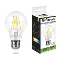 Feron ЛОН A60 филамент E27 7W(760lm 270°) 4000K 4K прозрачная 103x60, LB-57 25570