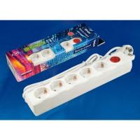 Uniel сетевой фильтр Universal ПВС 3x0.75 5 роз. 5 м 10A белый, земля, выкл. S-GSU5-5 WHITE