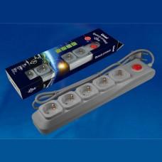 S-GSL5-3 GREY Cетевой фильтр серии Lux, 3м (Пвс 3*0,75), 5 гнезд, с/з. 10А. Защита от перенапряжения