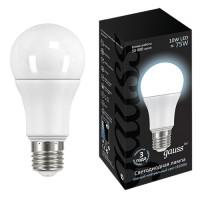 Лампа св/д Gauss ЛОН A60 E27 10W(920 lm) 4100K 4K 60х110 матовая, пластик/алюм. 102502210
