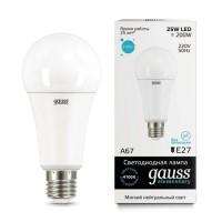 Лампа св/д Gauss Elementary ЛОН A67 E27 25W(2100lm) 4000K 4K 143x67 матовая, пластик/алюм. 73225