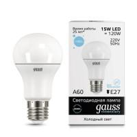 Лампа св/д Gauss Elementary ЛОН A60 E27 15W(1480lm) 6500K 6K 118x60 матовая, пластик/алюм. 23235