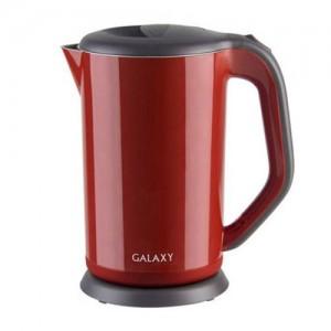 Чайник электр. Galaxy GL-0318 красный (диск, 1,7л) 2кВт, двойной корпус, нерж.сталь/пластик