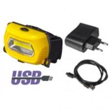 Focusray фонарь налобный 1057 (акк. 3,7V 770 mAH) 3W СОВ, черный/пластик, 3 режима, BL