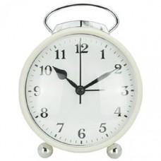 Будильник HomeStar HC-03 белый (круглый) 10,3*5*11,4см, корпус пластик, АА*1шт нет в компл 3794