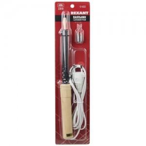 Паяльник ПД 220В 65Вт деревянная ручка + ПРИПОЙ (блистер) REXANT,12-0222