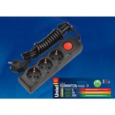 S-GCD3-3B BLACK Удлинитель серии Standart, шнур 3 м., 3 гнезда, с/з. Черный. TM Uniel.