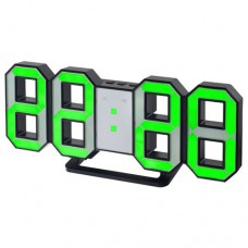 "Perfeo LED часы-будильник ""LUMINOUS"", черный корпус / зелёная подсветка (PF-663) PF_5198"