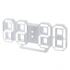 "Perfeo LED часы-будильник ""LUMINOUS"", белый корпус / белая подсветка (PF-663) PF_5200"