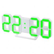 "Perfeo LED часы-будильник ""LUMINOUS"", белый корпус / зелёная подсветка (PF-663) PF_5202"