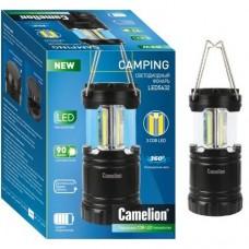 Camelion фонарь кемпинговый LED5632 (3xR03) 3св/д COB (90lm) крюк, черный/пластик