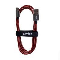 Кабель USB2.0 A вилка - USB Type-C вилка, Perfeo черно-красный, длина 1 м. (U4901)