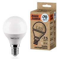 Wolta лампа св/д шар G45 E14 7,5W(625Lm) 6500К 6K 81X45 25W45GL7.5E14