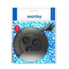 Smartbuy сет. удл. (рулетка) ПВС 3 роз. 3 м 10А/2,2кВт, б/з, круглый, черный (SBE-10-3-03-B)/40