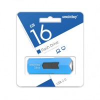 Флэш-диск (флэшка) USB Smartbuy 16GB STREAM Blue выдвижной разъем (SB16GBST-B)