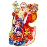 """Наклейка """"Дед мороз с внучкой"""" Волшебная страна 3219"""