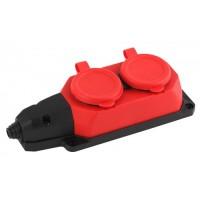 ЭРА колодка ОУ двойная 2 гн. с загл. каучук 16А 220-240V IP44 красная K-2e-RED-IP44 5049